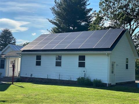Garage Solar Panelsrone photo of very clean installation in Montgomery County